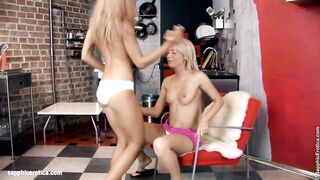 Sexy lesbians Chiara and Anya engage in a hot twosome on